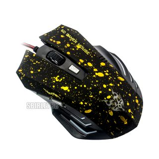 6d USB 1000 2000 dpi Adjustable Optical Gaming Mouse Mice Black Orange