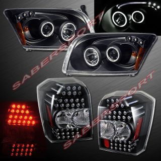 2006 2008 Dodge Caliber CCFL Halo Projector Headlights Black LED Tail Lights