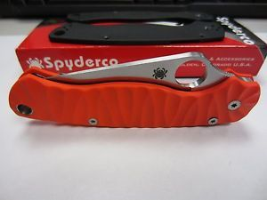 Spyderco Paramilitary 2 Custom Orange Scales Pocket Folding Knife Knives Blade