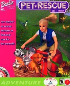 Barbie Pet Rescue PC CD Find Lost Animals Puppy Kitten Cat Dog Care Game