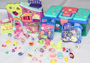 Hasbro Littlest Pet Shop Huge Lot Pets Accessories Case New Food Clothes