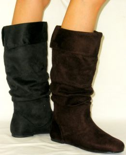 Cute Soft Comfy Slouchy Flat Boots Faux Suede Slouch Tall Knee High