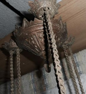 C1880s Cast Iron Horse Hanging Oil Lamp Counterweight Ring Ceiling Extension
