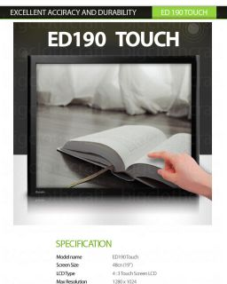 "New 19"" Touch Monitor POS MSR Included ED190 Touch VGA DVI 5 Wire Touch Screen"