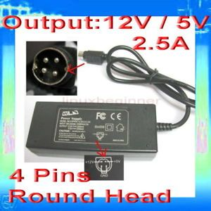 Round Head 4 Pins 2 5A 5 12V AC DC Power Supply Adapter