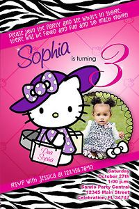 Hello Kitty 4 Custom Birthday Party Invitation Photo Printable