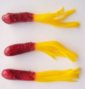 50 Crappie Pro Tube Jigs 1 5inch Red Scales Yellow SH17