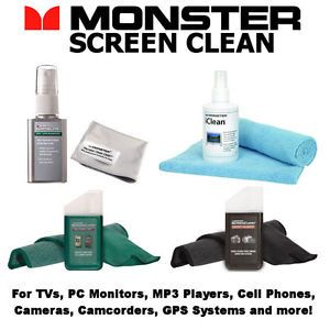 Monster Screen Clean Bundle 4 Pack TV PC iPod iPad Cell Phone Camera GPS Phone