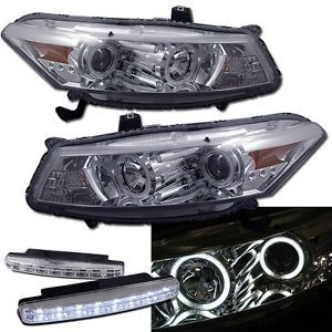 2008 2010 Honda Accord JDM Coupe CCFL Halo Projector Head Lights DRL LED Fog