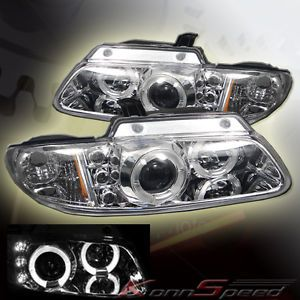 96 00 Chrysler Town Country Voyager Halo LED Projector Headlights Chrome