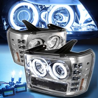 8000K Slim Xenon HID 07 13 GMC Sierra CCFL Halo Projector DRL LED Headlights