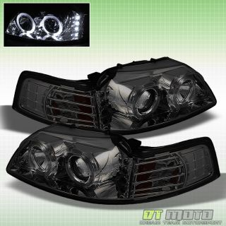 99 04 Ford Mustang Halo Projector LED Headlights Smoked