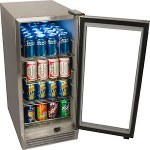Outdoor Stainless Steel Glass Door Refrigerator Built in Compact Beverage Cooler
