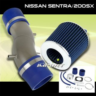 91 99 Sentra 200SX Short RAM Air Intake System Filter Blue w Piping Assembly