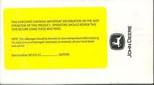 John Deere M153123 Gators Safety Video VHS Tape New