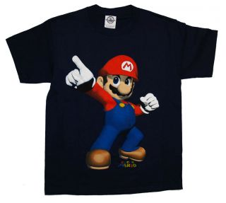 Super Mario Bros Nintendo Pointing Pose Video Game Kids Youth T Shirt Tee