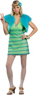 60s Girl Hippie Costume Lime Green Dress Adult Womens Costume New