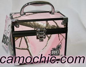 Caboodles Realtree Girl Pink Camouflage Train Case Makeup Bag Travel Trunk