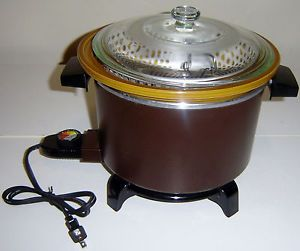 Dazey 5 Qt Multifunction Crock Pot Slow Cooker Steamer Deep Fryer