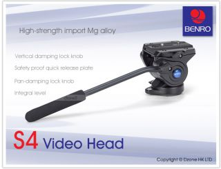 New Benro s 4 Quick Release 2 Way Video Tripod Head for Camera S4 T242