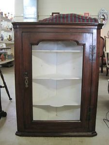 Walnut Antique Hanging Cabinet with Glass Door and Shelves