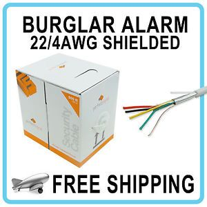 22 4 Burglar Alarm Security Wire Cable 500ft Stranded Shielded White Speaker