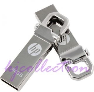 HP V250W 64GB 64G USB Flash Pen Drive Disk Stick Hook Clip Lock Carabineer Metal
