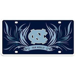 North Carolina Tarheels Full Color Flame License Plate Tag 6x12 for Glass Wall