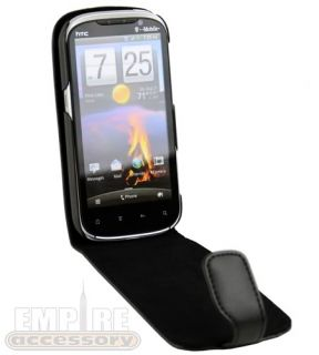 New Premium Black Leather Flip Case for HTC Amaze 4G T Mobile Ruby