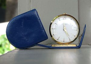 Vintage Swiss Bucherer Travel Alarm Clock with Blue Case Works Great