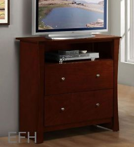 New Avelar Cherry Finish Wood TV Stand Console Entertainment Chest