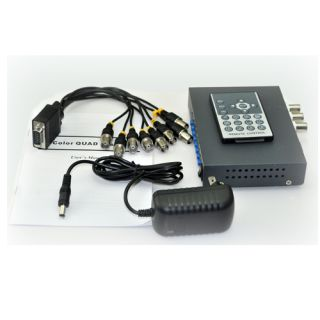 CCTV 8 Channel Color Quad Security Video Processor Splitter with Pigtail Remote