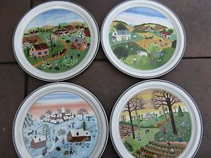 Villeroy Boch Design Naif Laplau Four Seasons Hanging Wall Plates Complete Set