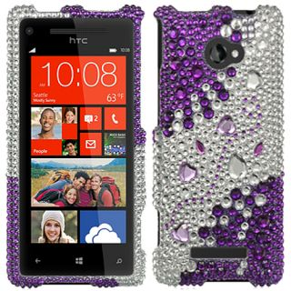 Purple Silver Hearts Bling Case Cover Faceplate for HTC Windows Phone 8x