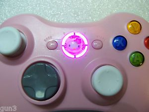 Custom Microsoft Xbox 360 Wireless Controller Shell Pink LEDs Hello Kitty