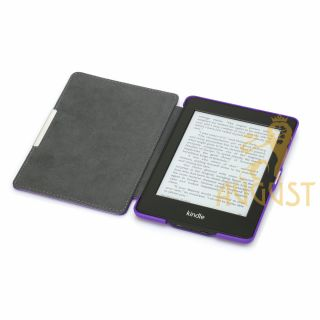 Purple Folio Leather Case Cover for Kindle Paperwhite Screen Protector Pen
