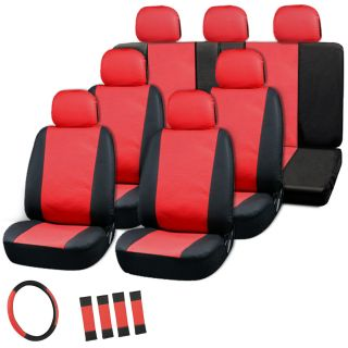 23pc Full Set Red Black Auto Van Seat Covers Buckets Bench Wheel Head Belt Pads