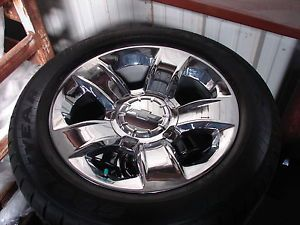 "4 2014 20"" Silverado Tahoe Avalanche 5 Spoke Chrome OE Wheels Goodyear Tires"