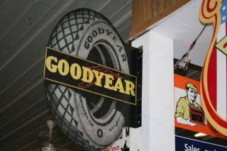 Large Goodyear Tires Metal Flange Sign Die Cut 23x30