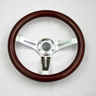 "14"" Universal Classic Wood Steering Rim for Hot Rods and Replica Cars 6 Holes"