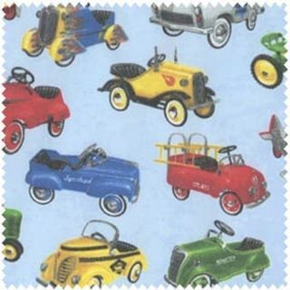 On The Road Cotton Fabric Hot Rods Old Fashion Cars Light Blue BTY