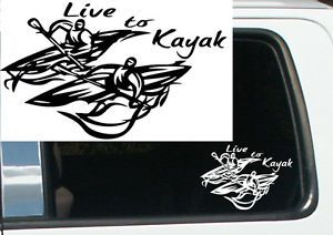 "7"" Live to Kayak Tribal Design Vinyl Decal Sticker Car Truck Window Funny RN 14"