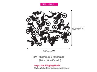 Bike Stunts Bike Art Wall Decor Removable Vinyl Sticker for Boys Kids Room