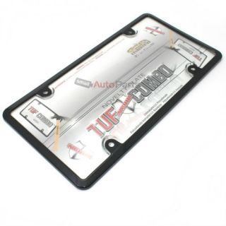 Black Plastic License Plate Tag Frame Clear Tough Shield Cover for Car Truck