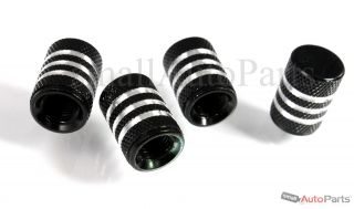 4 Car Truck Bike Black Aluminum Tire Valve Stem Caps with Chrome Stripes