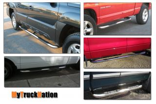 "1999 2012 2013 Chevy Silverado Crew Cab 3"" Stainless Nerf Bars Running Boards"