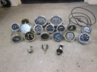 Vintage Lot of Stewart Warner Gauges Instrument Cluster SW Hot Rod Scta Temp SW