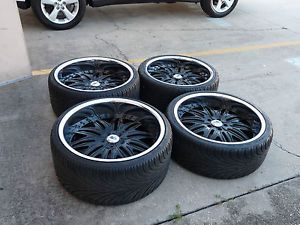 "22"" asanti Black Chrome Staggered Wheels Rims and Tires 5x120 Package Local Only"