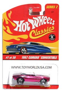 Hot Wheels Classics Series 2 7 1967 Chevy Camaro Convertible Magenta Unpainted
