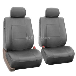 4pc Gray PU Leather Low Back Bucket Truck Seat Covers